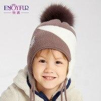 ENJOYFUR muchachos gorras con Fur Pom lana caliente sombreros de los niños  para los niños de 3c4c8bd55e2