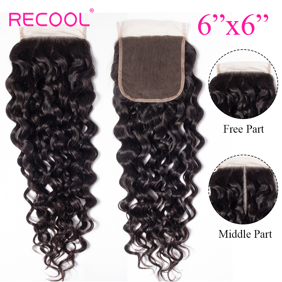 Recool Hair 6x6 Lace Closure Brazilian Water Wave Closure Pre Plucked Free Middle Part 6x6 Swiss