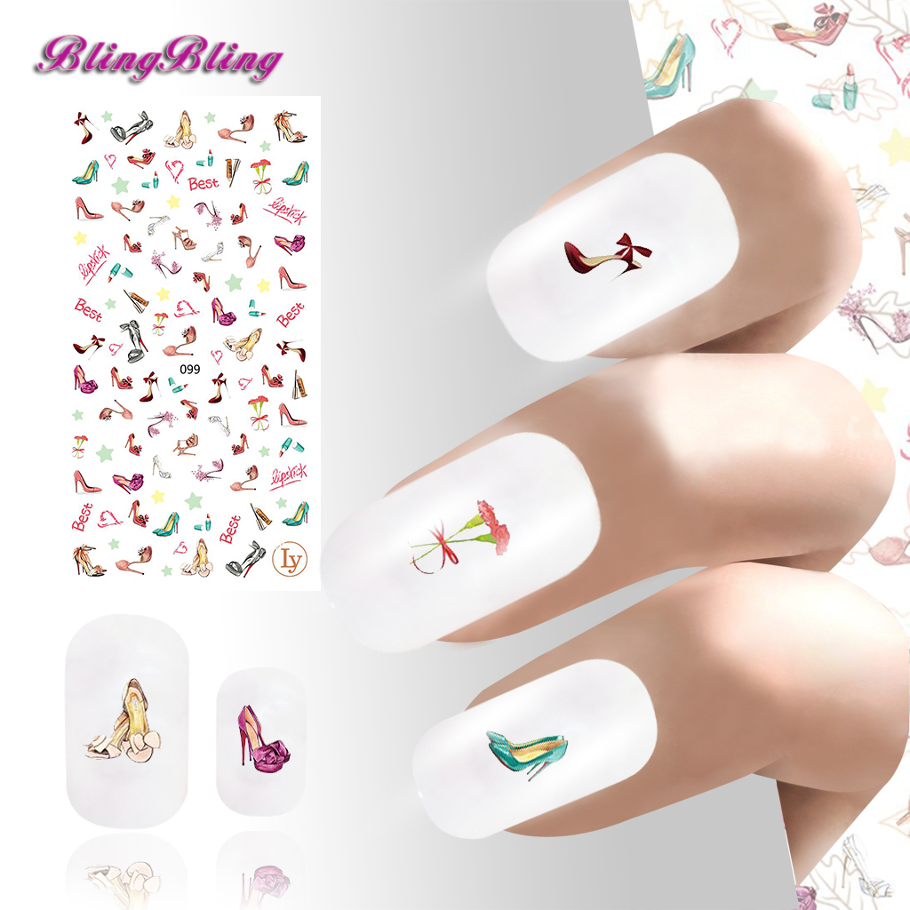 2PCS 3D DIY Nail Art Sticker Decals Adhesive Manicure Foils Wraps Women's favorite Colorful shoes 12x sexy colorful full cover nail art polish sticker metal adhesive foils patch diy beauty nail art tools y stzj 18