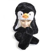 DOUBCHOW Yeni Moda Sevimli Peluş Paws ile Siyah Penguen Hayvan Şapka Eldiven Yetişkin Gençler Çocuk Boys Kız Kış Şapka Beanie