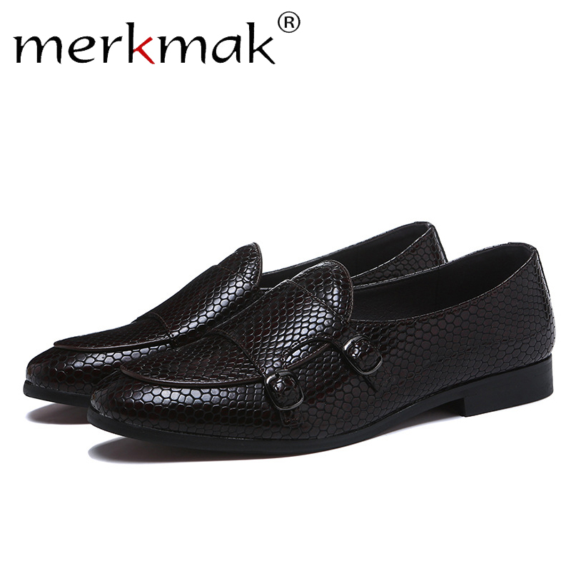 Merkmak Crocodile Skin Loafers Men Leather Shoes Summer Slip On Casual Black Dress Shoes Man Big Size 38-48 Comfortable Flat