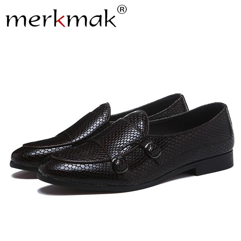 Merkmak Crocodile Skin Loafers Men Leather Shoes Summer Slip On Casual Black Dress Shoes Man Big Size 38-48 Comfortable Flat