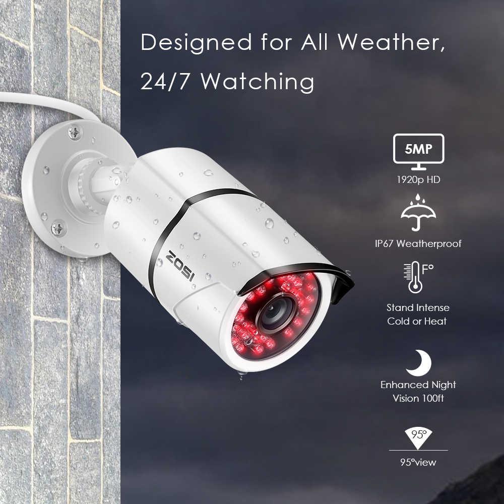 ZOSI 4CH/8CH H.265 + HD 5.0MP камерная система безопасности с 4x5 Мп HD на открытом воздухе/Крытый CCTV камеры видеонаблюдения, комплект