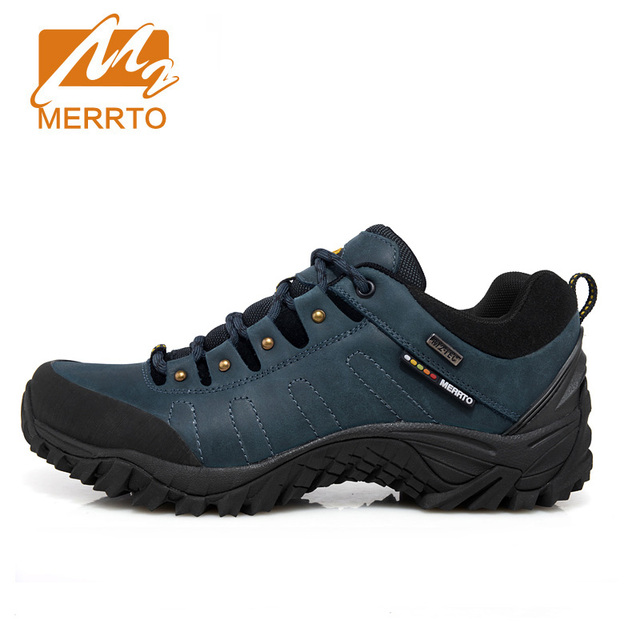 MERRTO Men Waterproof Hiking Shoes Genuine Leather Breathable Trekking Shoes Men Outdoor Brand Climbing Camping Mountain Shoes