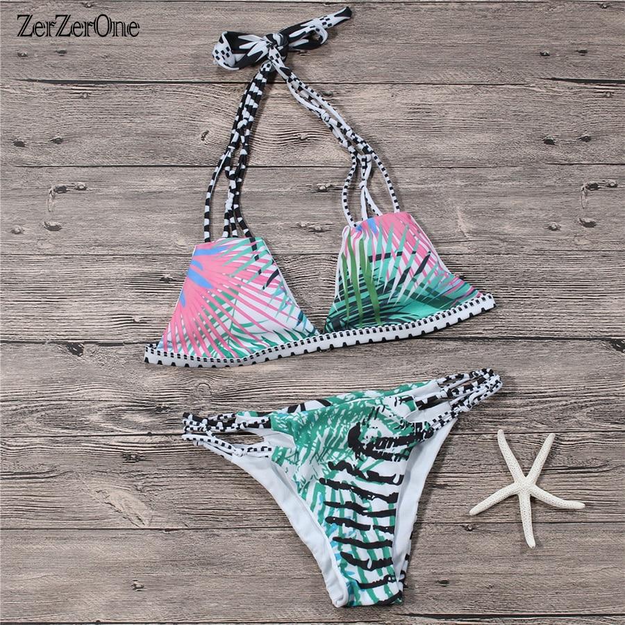 Bikinis 2017 biquine Brasileña Bikini Conjunto De Impresión Halter Top trajes de Baño Las Mujeres traje de Baño Atractivo Del Vendaje Del Traje de Baño Ropa de Playa Biquini