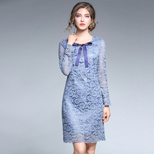 5xl women dress autumn 2017 new plus size blue lace flower print sexy work casual vintage long sleeve party dresses 4xl large