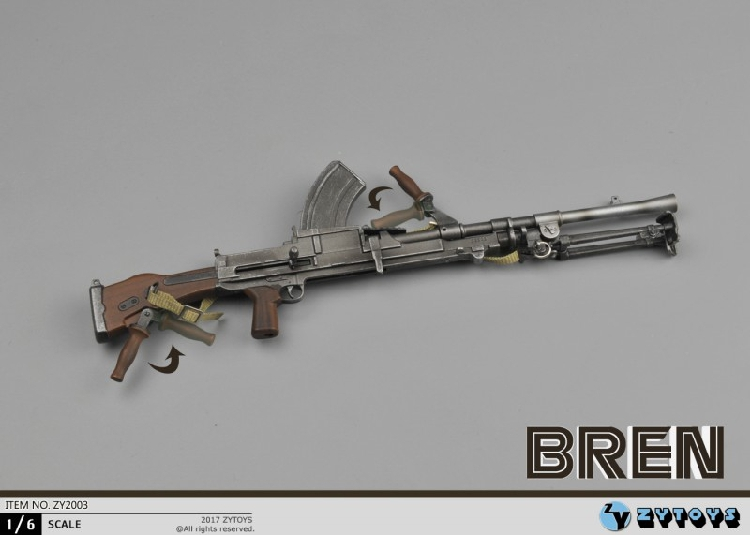 ZYTOYS 1/6 scale weapon model World War II British army Bren model ZY2003 for 12'' soldier action figure