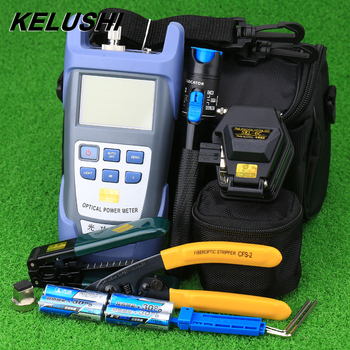 KELUSHI FTTH Hot Melt Fiber optic tool Kit with SKL-6C Fiber Cleaver Optical Power Meter 1mW Visual Fault Locator
