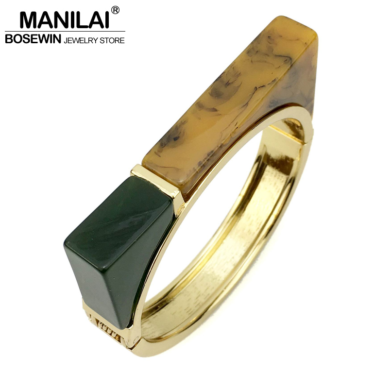 MANILAI Bohemia Acrylic Geometric Bracelets For Women Fashion Jewelry Gold Color Tone Cuff Bangles & Bracelets Manchette fashion 2 size pure tungsten steel hematite couple bracelets bangles for women jewelry mens silver color bracelets for lover s