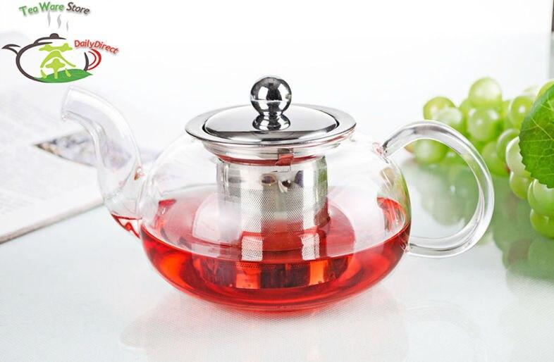 1x Pot FY - 16.9fl.oz 500ml Heat-Resisting Clear <font><b>Glass</b></font> Flower Teapot Coffee Water Tea Pot with Stainless Steel Infuser Lid