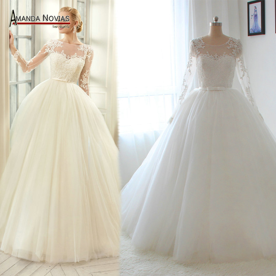 High quality 2016 sleeves wedding dress with lace for Cheap lace wedding dresses with sleeves