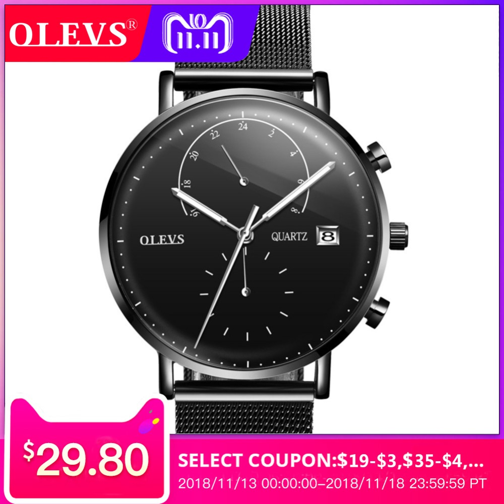 OLEVS Watch Men Watch Original Fashion Design Men Watches Top Brand Luxury Waterproof Clock relogio masculino erkek kol saati 2018 fashion watch men retro design leather band analog alloy quartz wrist watch erkek kol saati