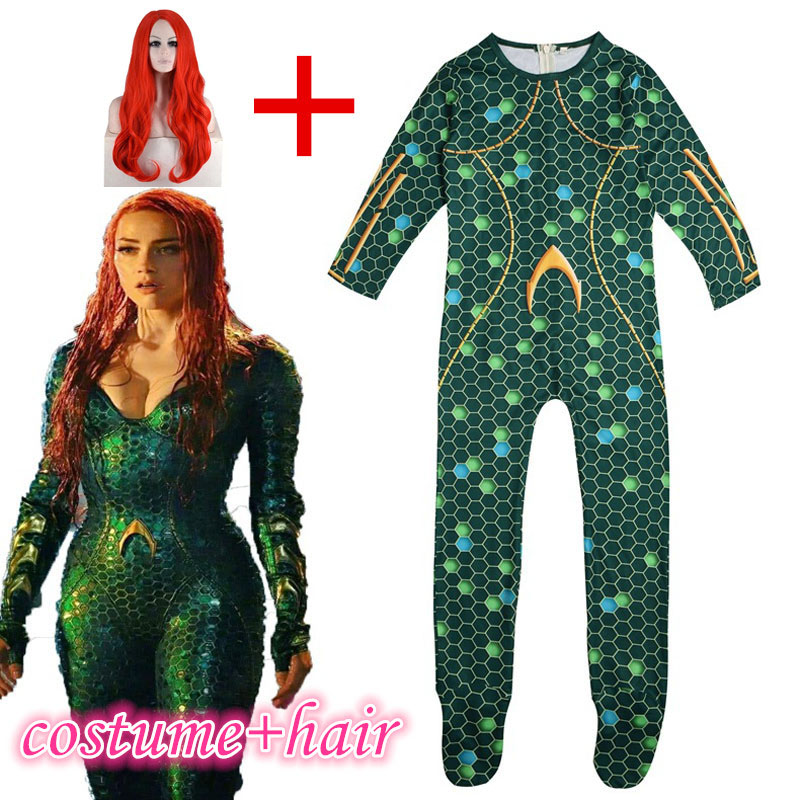ZSQH Aquamen Justice League Mera Superhero Cosplay Costume for kids children Girls Bodysuit Halloween Jumpsuits rompers Aquamans