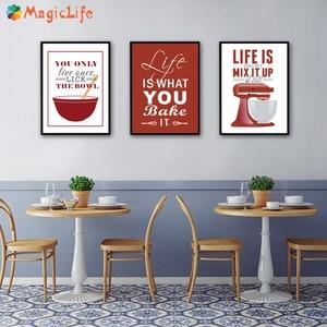 Image 3 - الحديثة المطبخ الملصقات والمطبوعات الحياة إقتباس الرسم على لوحات القماش الجدارية الشمال المشارك ديكورات جدار صور غير المؤطرة