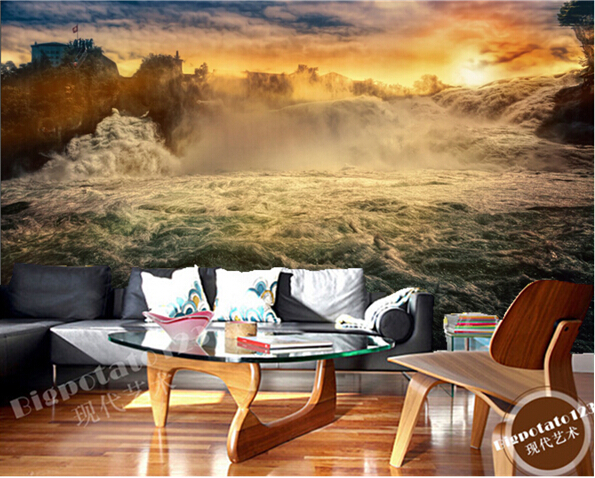 Custom wallpaper forest 3D, river, waterfall for living room bedroom TV background wall waterproof wallpaper papel de parede custom 3d mountains sunrises and sunsets forest trees rays of light nature papel de parede living room tv wall bedroom wallpaper
