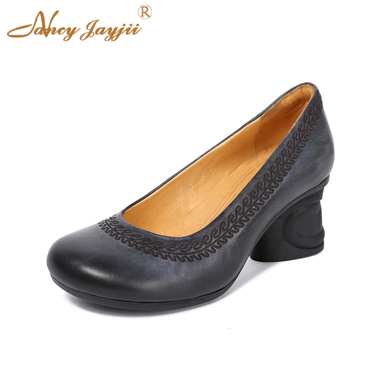 Spring Ethnic Retro Genuine Leather Cow Women Female Pumps Shoes High Heel 6cm Sewing Sexy Fashion New Designers Size 39 38 35 aiyuqi 2018 spring new women s genuine leather shoes waterproof platform sexy plus size 41 42 43 fashion heel shoes female