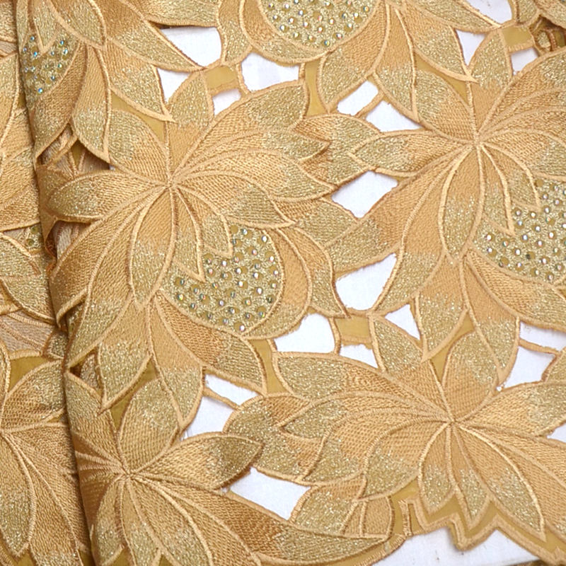 Gold High Quality Swiss Voile Laces In Switzerland 100%Cotton Hand-cut African Lace Fabric Nigerian Man Voile Lace 5Yards QG867