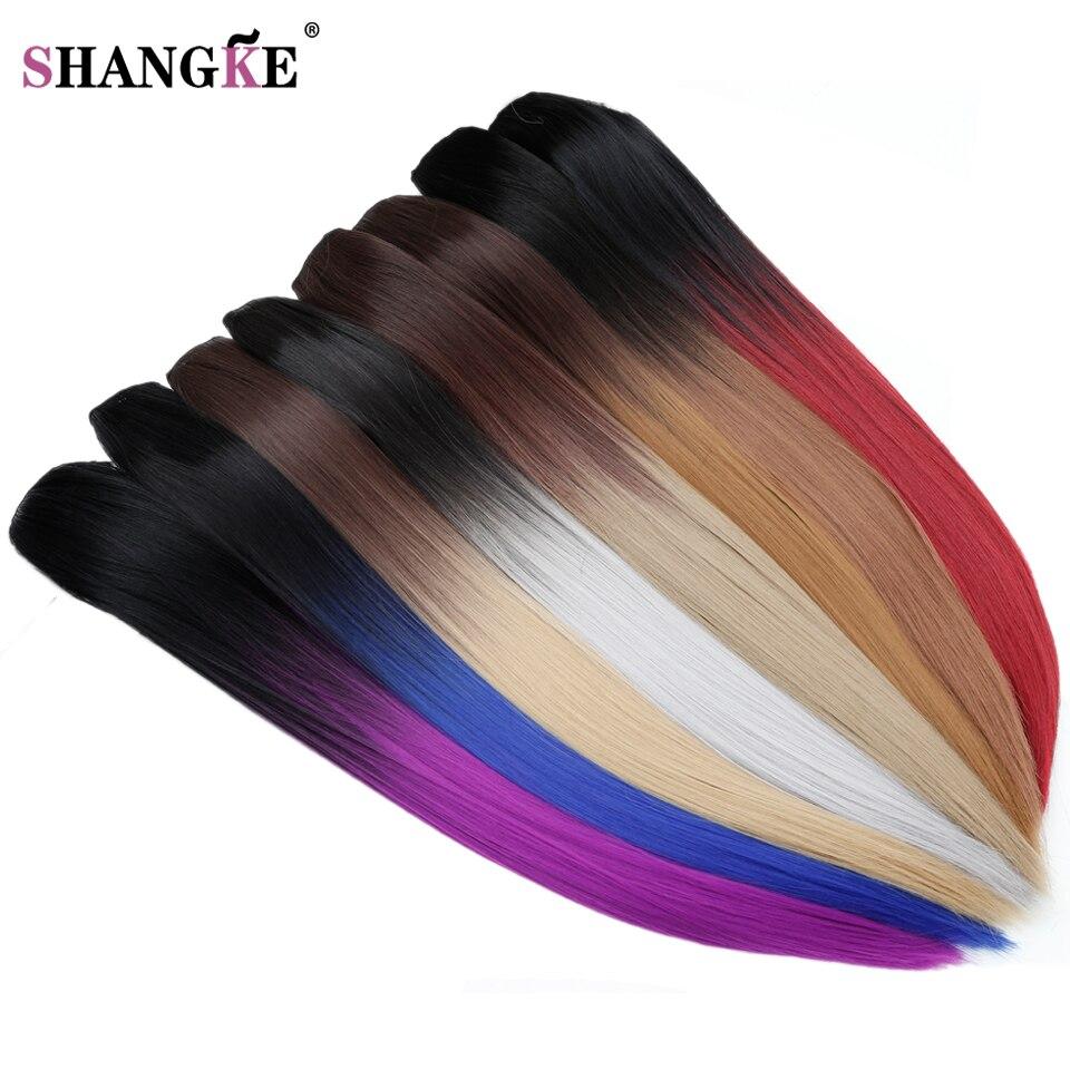 """SHANGKE 24 """"150 גרם ארוך Stright 5 קליפ בתוספות שיער Hairpieces עמיד בחום סינטטי שיער Ombre טבעי פיסת שיער נשים"""