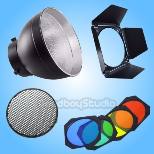 Godox AD-R6 Reflector + BD-04 Barn Door Hoenycomb Grid Fliters fr AD600B AD600BM godox bd 04 barn door honeycomb grid with 4 color gel filter for standard reflector
