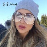 2017 Oversize Transparent Cat Eye Brand Designer Mirror Sunglasses Women UV400 Lady Clear Sun Glasses Italy