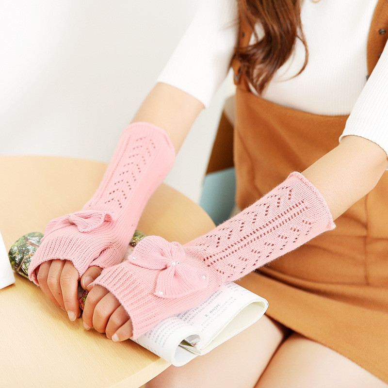 Glitter Stones Bowknot Women's Gloves Wrist Arm Warmer Winter Spring Fingerless Knit Mitten