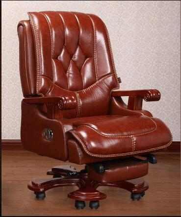 Real leather boss chair. Can lie high - grade massage computer chair. Home office chair real wood swivel chair..08 the silver chair