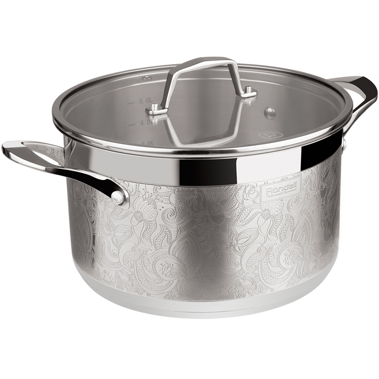 Фото - Saucepan with lid Rondell Fancy RDS-398 (Diameter 24 cm, Volume 5.5 L stainless steel, suitable for all types of plates) saucepan with lid eurostek es 1007 volume 4 5 liter diameter 22 cm пятислойное bottom suitable for all types of plates