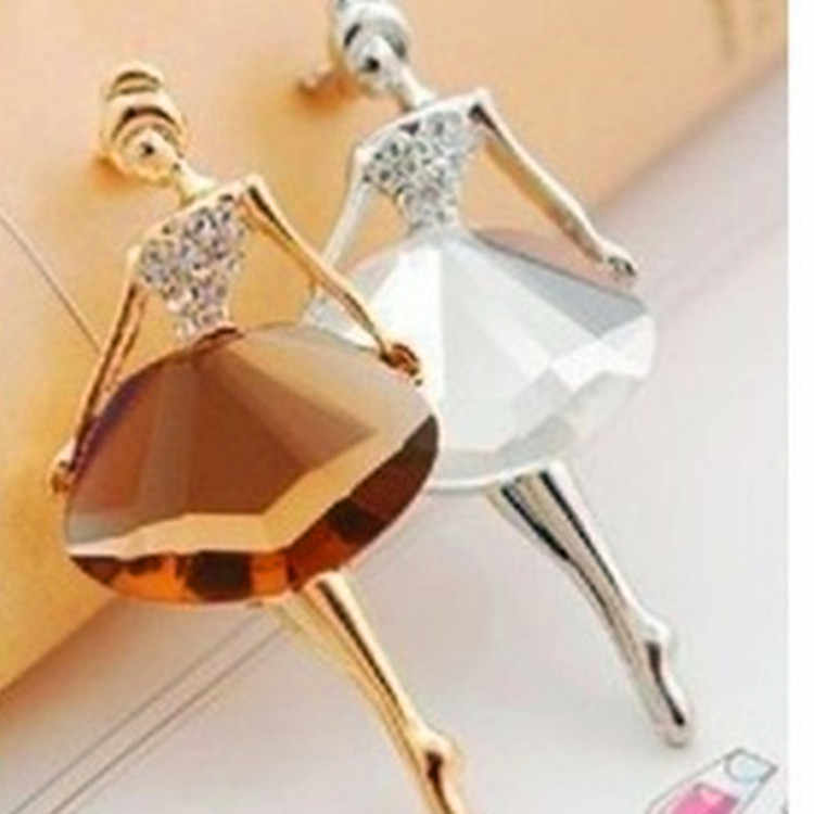 Fashion Temperamen Cinta Balet Gadis Bros Kristal Bros Kerah Kerah Pin Syal Suit Cocok Liar Perjamuan Bros Hadiah Unisex