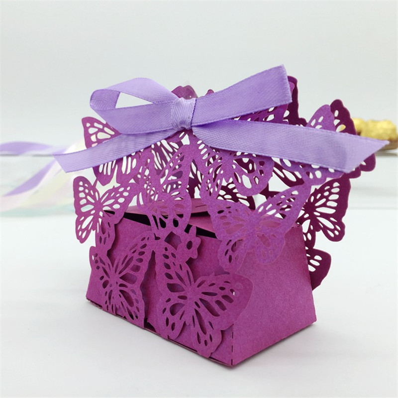Buy laser cut butterfly wedding candy box for Wedding gift decoration
