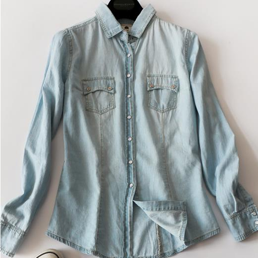 Spring Autumn Women Blouse Casual Shirts Long Sleeve Denim Cotton Jeans Shirt