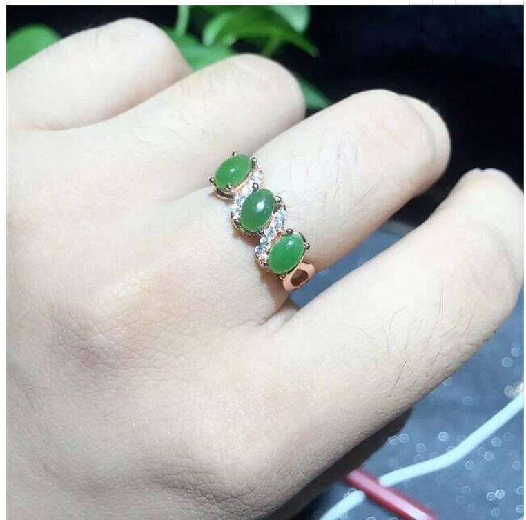 где купить Free shipping Woman Ring Natural Hetian Jasper Ring 925 sterling silver Ring Wholesales Fine jewelry Gem Size 3*5mm 3pcs по лучшей цене