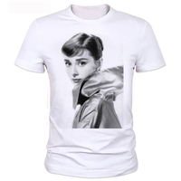 Famous Star Design Audrey Hepburn Short Sleeve O Neck T Shirts Plus Size Tops Tees Brand
