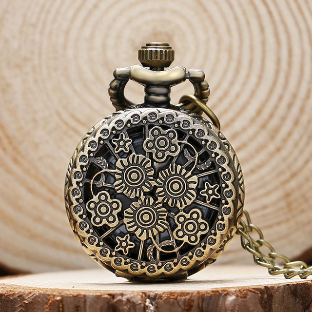 Elegant Small Hollow Quartz Pendant Pocket Watch With Sweater Chain Gift For Men
