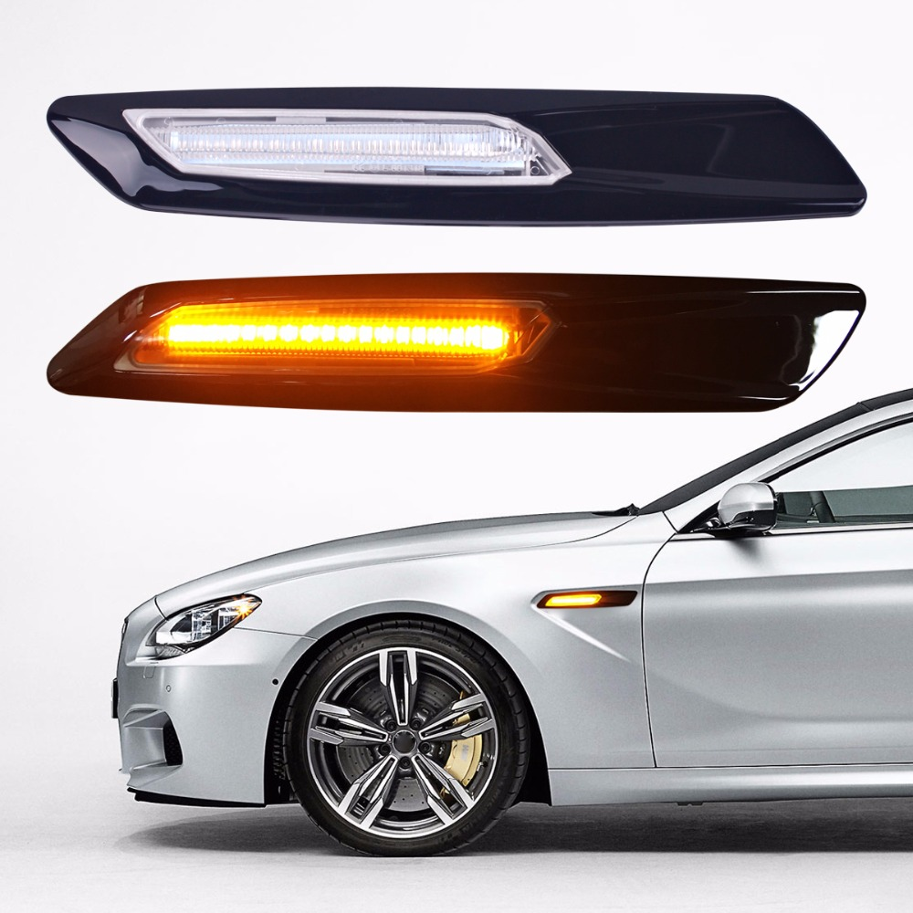 2Pcs Car-styling LED Smoker Side Marker Light Fender Turn Signal Lamp for BMW E81 E82 E87 E88 E90 E91 E92 E60 E61 Accessories 2xcar styling car led sticker carbon fiber paper fender turn signal lamp for bmw e46 e82 e87 e88 e90 e91 e92 e60 e61 accessories