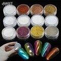 1g 12 Color Optional Shining Magic Mirror Nail Glitter Powder + Brush Gorgeous Nail Art Chrome Pigment Glitters #01-12