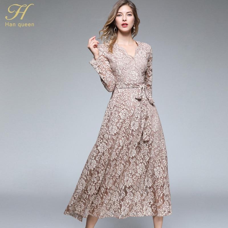 024f7b3244571 H Han Queen Autumn Maxi Lace Dress New Bow Slim Fashion V-neck Sex...