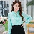 2015 Summer Style Women Sweet Chiffon Shirt Female Crochet Blouse Green Pink And White