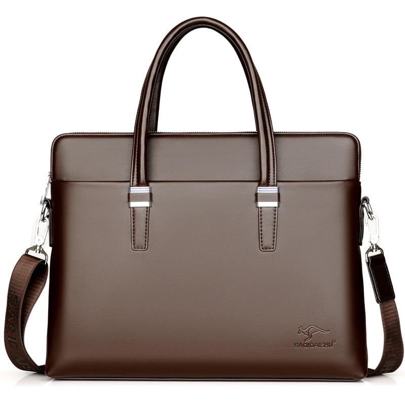 Classic Men's Business Briefcase PU Leather Handbag Male Casual Shoulder Crossbody Bag Messenger Laptop Bag Travel Bag For Men