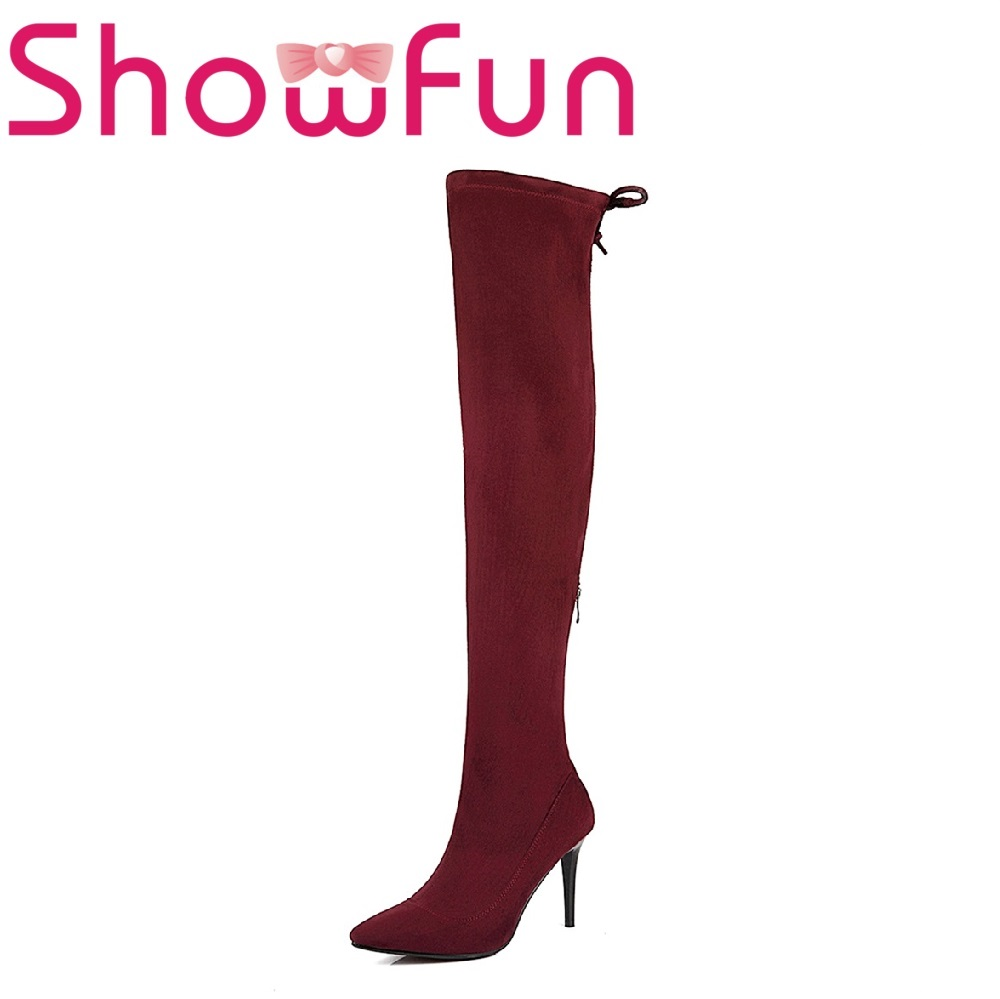 Showfun microfiber shoes woman flock over-the-knee solid round toe zipper super high thin heel boots