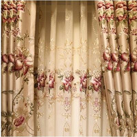 Golden silk shading embroidery curtains luxurious luxury living room bedroom balcony floor curtain yarn finished product