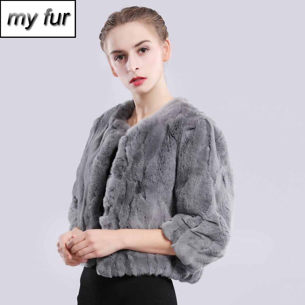 2019 New Style Autumn Winter Genuine Real Rex Fur Jacket Women Fashion Rex Rabbit Fur Coat