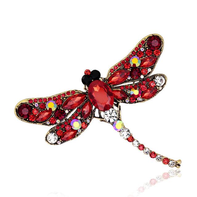 Crystal Rhinestone Dragonfly Brooch