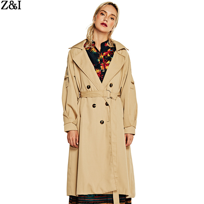 2019 Spring Autumn New Women's Long Windbreaker Solid Color Simple Atmosphere Slim Lapel Windbreaker Coat