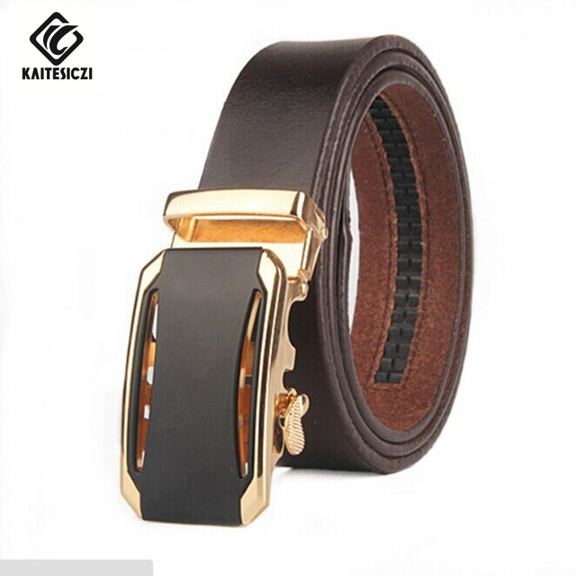 [KAITESICZI]  2017 new men pure leather belt automatic belt buckle belt men's high quality leather business belt leather cutting