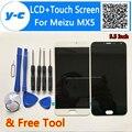 Para meizu mx5 pantalla lcd pantalla táctil 100% nuevo cristal digitalizador panel de la pantalla para meizu mx 5 1920x1080 teléfono fhd 5.5 ''cell