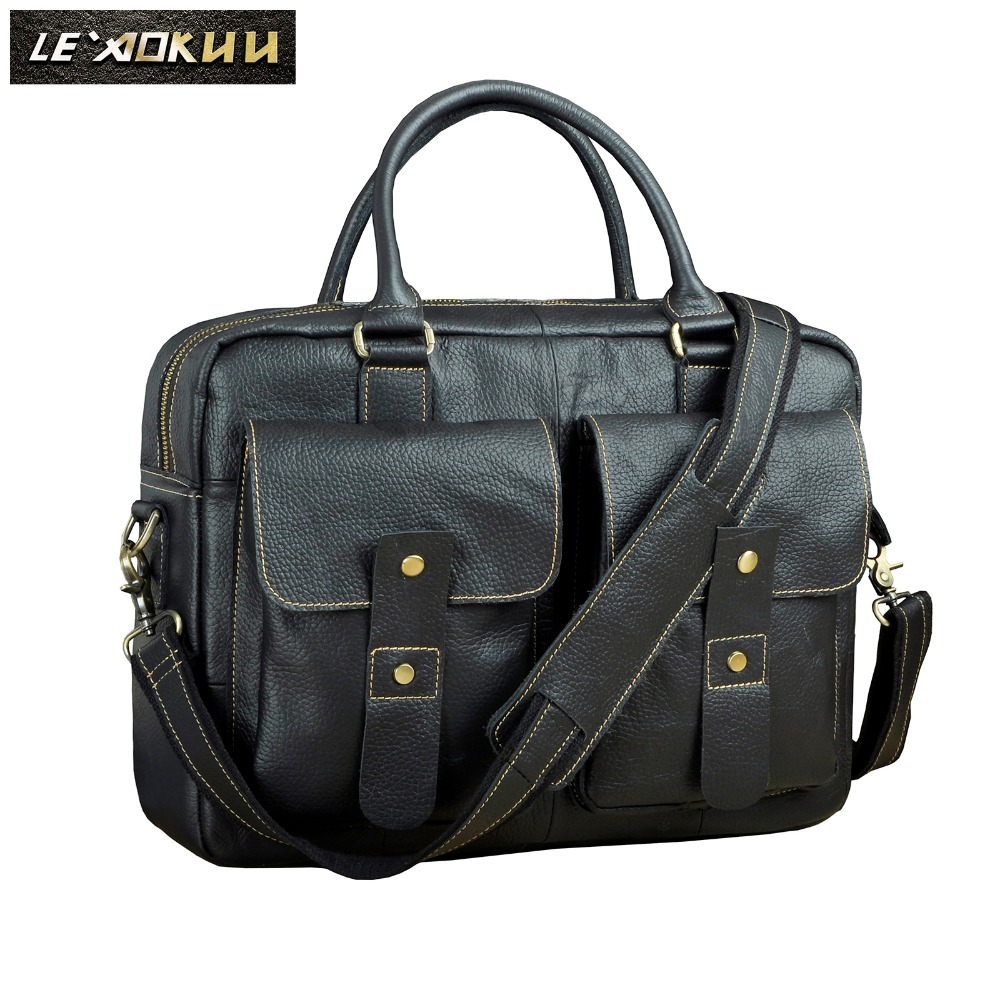 Mens Quality Leather Design Travel Business Briefcase 14