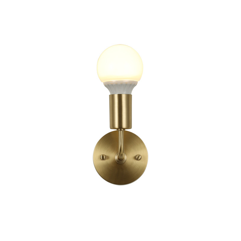 Nordic Loft Style Copper Wall Sconce Simple Vintage LED Wall Light Fixtures Home Bedroom Bedside Wall Lamp Indoor Lighting nordic vintage loft style wall lamp glass wood rocker bedside light fixtures for alise bar cafe indoor home lighting luminaire