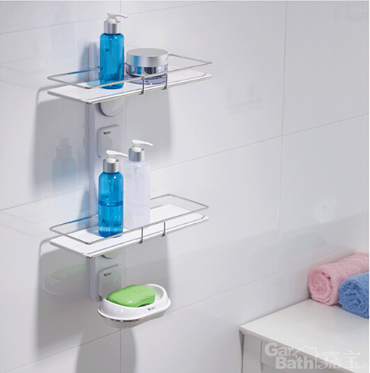 Online Shop Strong Garbath Suction Bathroom Shelf Unit Stainless Steel  Double Layer Holder With Soap Dish Shampoo Lotion Storage Wall Mount |  Aliexpress ...