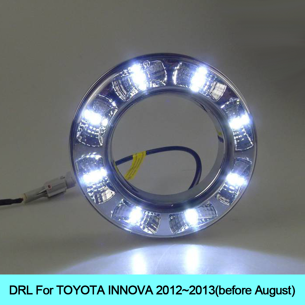 Car drl kit for toyota rav4 2012 2013 led daytime running light bar super bright fog lamp bulb daylight auto led drl light 12v