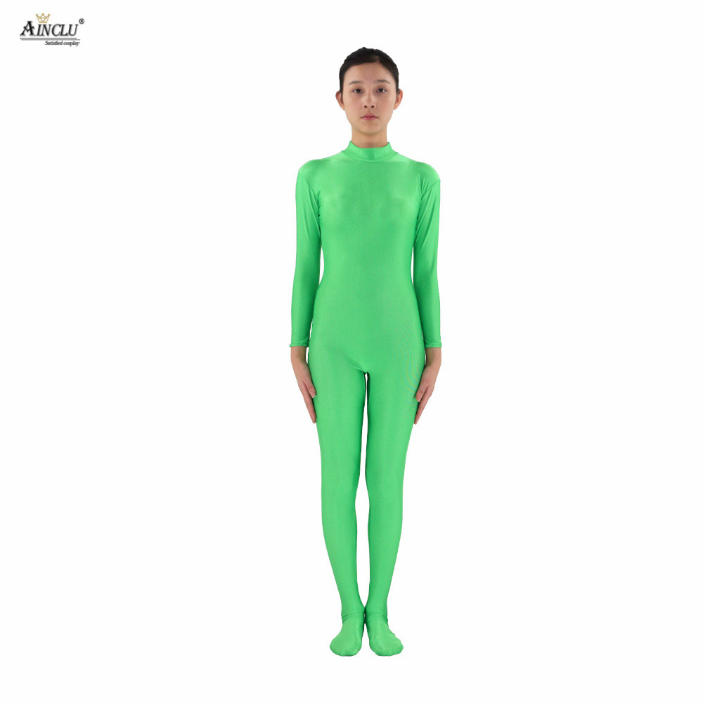 Ainclu Women Spandex Nylon Lycra Green Head-handless Body Second Skin Tight Color Custom Skin Suit Cosplay Costume Zentai
